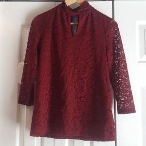 Merlot colored lace top